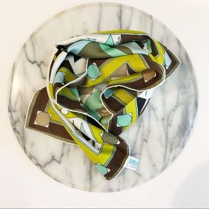 Emilio Pucci Geometric Neck Pattern Silk Scarf